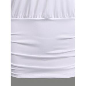 Lace Insert Ruched Slimming Tee - WHITE XL