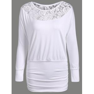 Lace Insert Ruched Slimming Tee