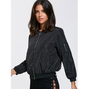 Satin Zip Up Pocket Design Thin Bomber Jacket -