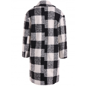 Snap Button Pocket Design Plaid Overcoat -