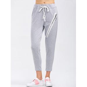 Drawstring Running Pants With Zipper - Light Gray - Xl