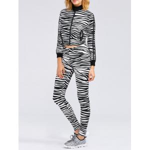 Zebra Striped Crop Running Jacket and Skinny Pants