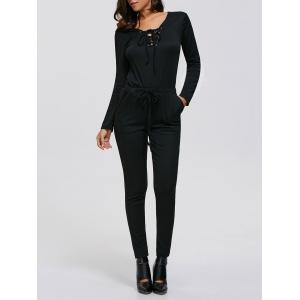 Criss-Cross Drawstring Long Sleeve Jumpsuit - Black - S