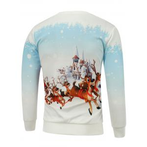 Christmas Elk Castle Printed Sweatshirt -