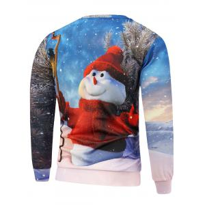 Christmas Snowman Printed Long Sleeve Sweatshirt - BLUE 3XL