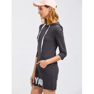 New Year Drawstring Hoodie Dress With Pocket -