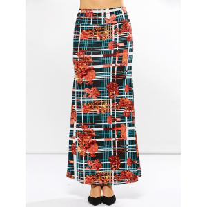 Mid Waist Striped Print Skirt - FLORAL 3XL