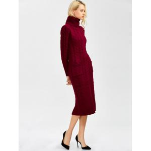 Long Sleeve Turtleneck Cable Knit Sweater Dress -