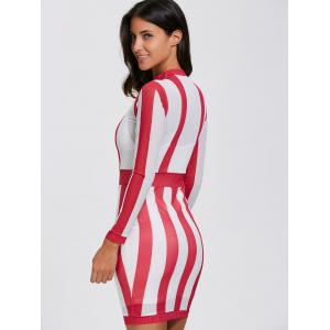 Long Sleeve See Thru Sheer Bandage Club Dress - RED WITH WHITE XL