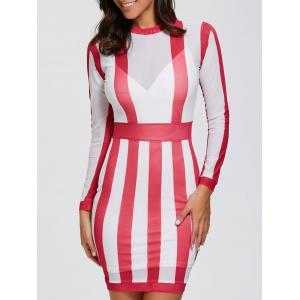 Long Sleeve See Thru Sheer Bandage Club Dress - Red With White - M