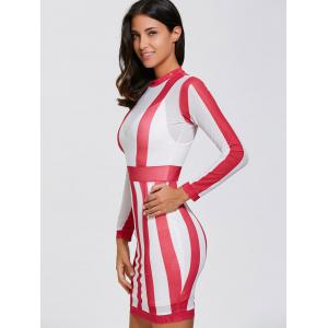 Long Sleeve See Thru Sheer Bandage Club Dress - RED WITH WHITE S