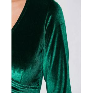 Velvet Long Sleeve Empire Waist Surplice Dress - BLACKISH GREEN L