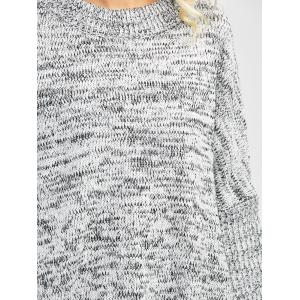 Batwing Sleeve Crew Neck Sweater - GRAY ONE SIZE