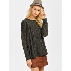 Drop Shoulder Hollow Out Cable Knit Sweater - BLACKISH GREEN ONE SIZE