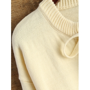 Lace-Up Casual Fitting Sweater - BEIGE XL