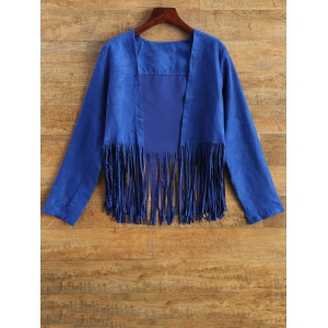 Tassels Faux Suede Cropped Jacket