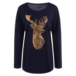 Deer Pattern Christmas Long Sleeve T-Shirt