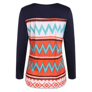 Zigzag Printed One Pocket T-Shirt - ORANGE RED XL
