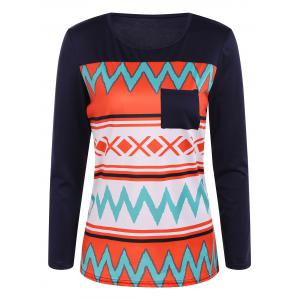 Zigzag Printed One Pocket T-Shirt
