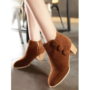 Boutons talon Chunky bottes Suede Ankle - Brun 38