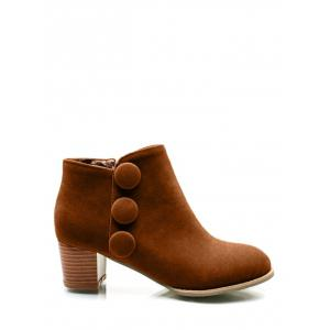 Buttons Chunky Heel Suede Ankle Boots - Brown - 38