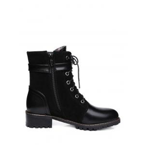 Suede Insert Buckle Strap Combat Boots -
