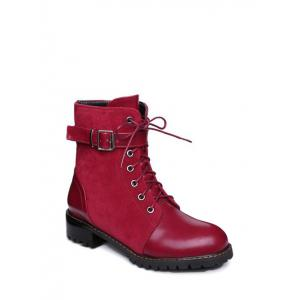 Suede Insert Buckle Strap Combat Boots