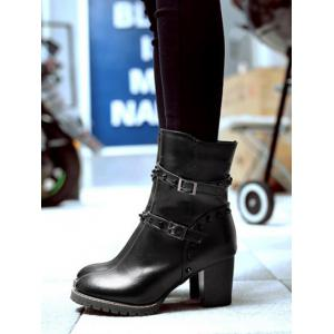 Rivet Double Buckle Straps Chunky Heel Boots -