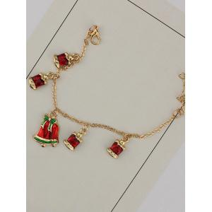 Gold Plated Christmas Bows Bells Charm Bracelet - GOLDEN