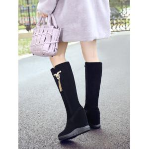 Tassel Rhinestone Metal Hidden Wedge Boots - BLACK 39