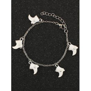 Christmas Moon Boots Charm Bracelet - White
