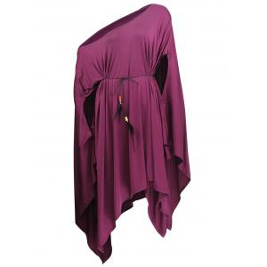 One Shoulder Hanky Hem Poncho Top