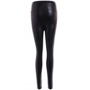 Faux Leather Buttons Embellished Skinny Leg Pants - BLACK 2XL