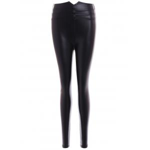 Faux Leather Buttons Embellished Skinny Leg Pants