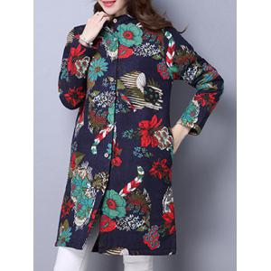 Floral Print Quilted Coat - Cadetblue - Xl