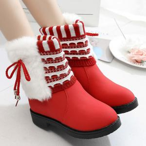 Faux Fur Knit Panel Short Boots - RED 39
