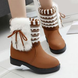Faux Fur Knit Panel Short Boots - Brown - 38