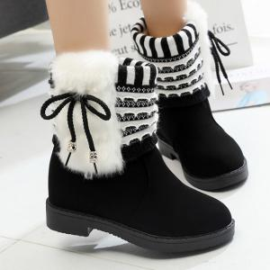 Faux Fur Knit Panel Short Boots - Black - 39