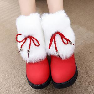Furry Panel Knit Short Bottes - Rouge 38