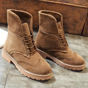 Retro Fold Down Wingtip Short Boots - BROWN 39