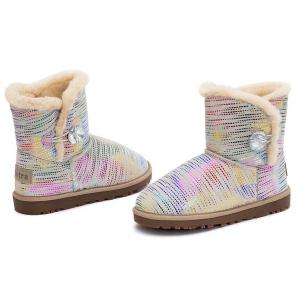 Colored Stripes Fuzzy Snow Boots -