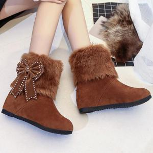 Hidden Wedge Bowknot Snow Boots -