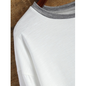 Buttoned Contrast Trim Long Sleeve Tee -