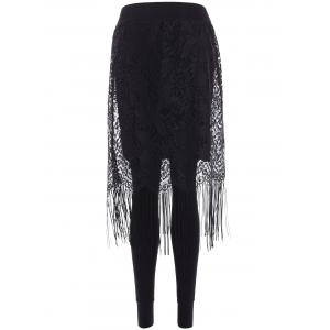 Fleece Fringe Lace Skirted Leggings -