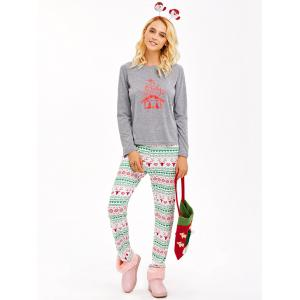 Graphic T-Shirt and Heart Print Leggings -
