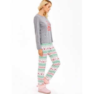 Graphic T-Shirt and Heart Print Leggings - GRAY 2XL