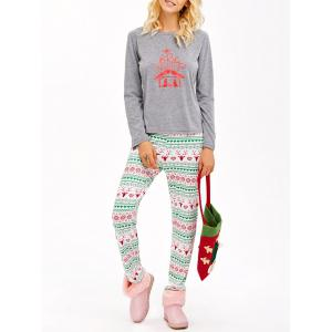 Graphic T-Shirt and Heart Print Leggings - Gray - Xl