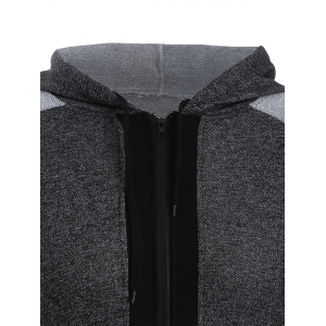 Colour Block Zip Up Hoodie - BLACK/GREY XL