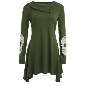 Side Collar Long Sleeve Skull Appliqued T-Shirt - Army Green - S