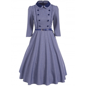 Double Breasted A Line Vintage Dress - Stone Blue - S